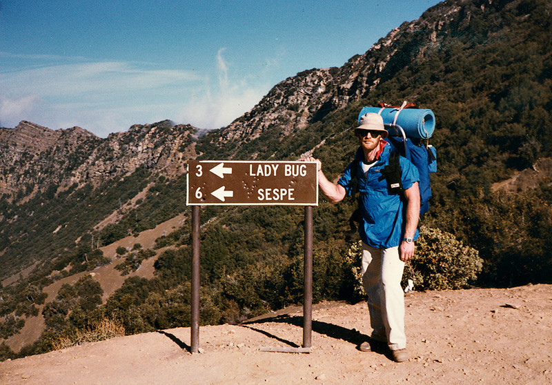 Heading down to Lady Bug camp from the crest of the Red Reef trail, sometime in 1985. For some reason I do not recall, I was carrying the North Face external frame pack that trip instead of my internal frame Lowe Triolet.