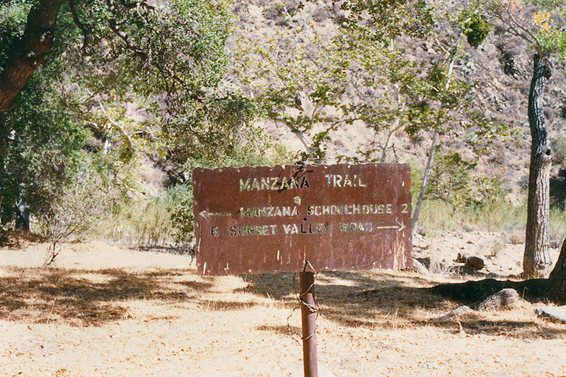 Manzana Trail heading to Manzana Schoolhouse, April 1984.