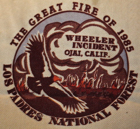 The official logo on the official hat of the Great Fire of 1985. I did communication work during the fire.