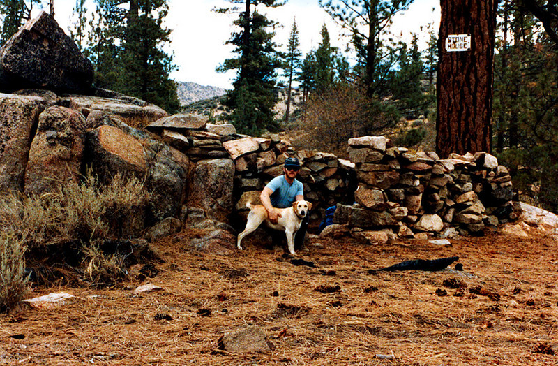 Stone House and Ceres, the intrepid hiking mutt, 09/1983