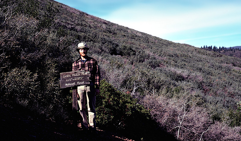 "On the trail to Santa Paula Peak, 04/1985. I believe this is my Goober Pyle look. If you  are very young, and have never watched old TV shows on cable, Goober Pyle was Gomer Pyle's brother on the old Andy Griffith show. If you are unsure of either the Andy Griffith or Gomer Pyle reference, you have made me feel very old. As it turns out, I was recently sent a link to a <a href=""http://www.flickr.com/photos/18124788@N02/4514541471/"">picture</a> of a remnant of this sign as of April, 2010."