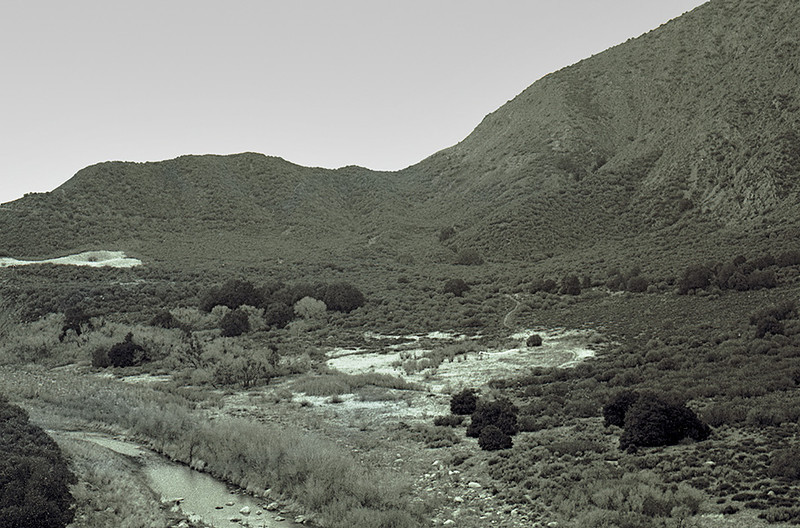 The Sespe Trail dropping from the hills in the background to cross the creek, 1983. This is east of Ten Sycamore Flat, I think, but, in truth, I do not remember the exact location - no geotagging in those days.