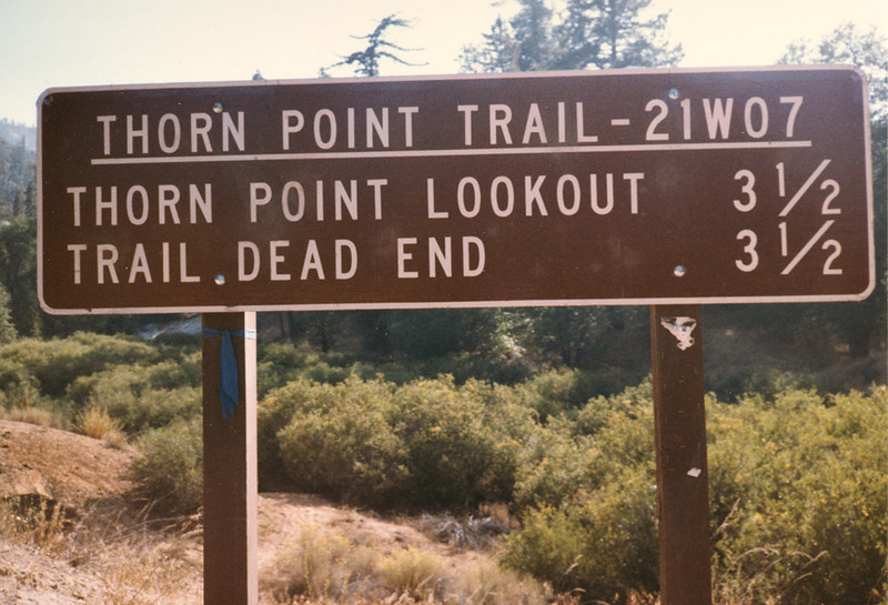 Trail sign at the start of the hike to Thorn Point, sometime before 1984.