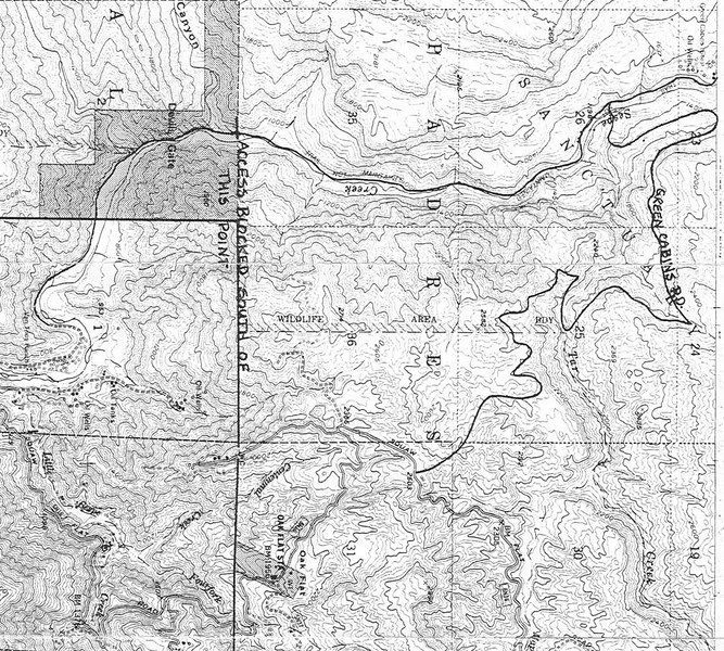 I have seen a great amount of activity with respect to Tar Creek on the Los Padres centered blogs. Here is an old map fragment showing the abandoned oil road that crosses Tar Creek and proceeds to the Lower Sespe. I knew it as the Green Cabins Road (see annotation on map). I do not recall the origin of the map, and I have not been down this road for a long time. I believe the last time I was at the upper falls on Tar Creek was sometime in the mid to late 1970s.