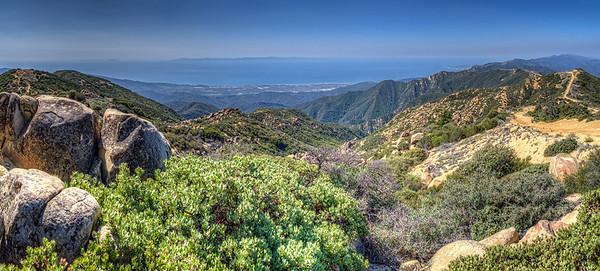 Panorama, Carpenteria, drilling platforms, Anacapa and Santa Cruz Islands from Santa Ynez ridge, March 22, 2013.