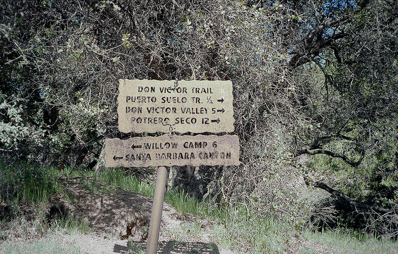 A half mile from Madulce Station as the sign points would bring one to the Puerto Suelo trail and potentially a world of bushwhacking, Spring, 1983.