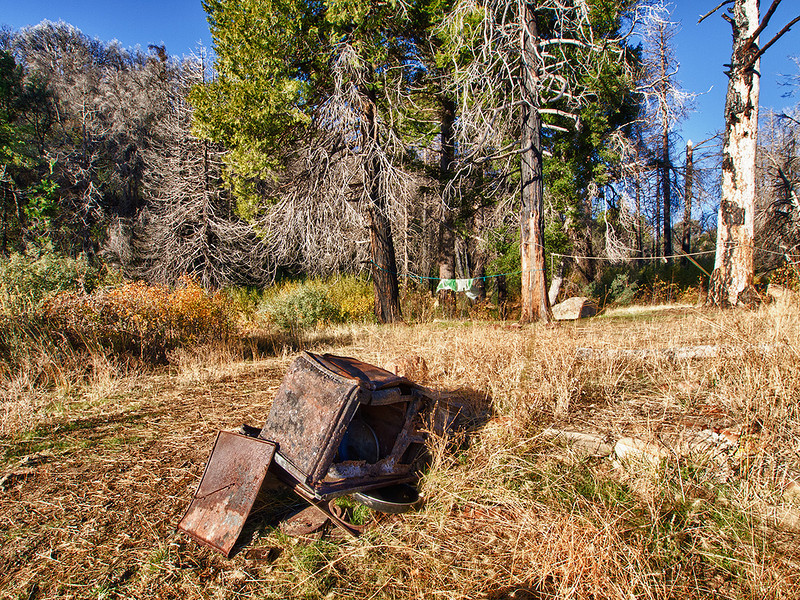 Remains of the wood burning stove that once warmed Madulce cabin, November 16, 2011.