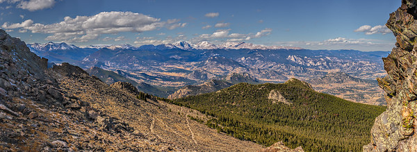 Panoramic view of the Northern Front Range from Twin Sisters summit (Long's peak is near the center)