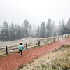 A female jogging in the winter.