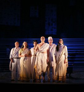 ENO Satyagraha Nicholas Folwell Anna-Clare Monk Charlotte Beament Toby Spence Clive Bayley Stephanie Marshell (c) Donald Cooper