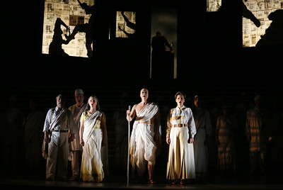 ENO Satyagraha Nicholas Folwell Clive Bayley Anna-Clare Monk Toby Spence Charlotte Beament Stephanie Marshall (c) Donald Cooper