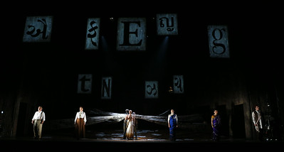 ENO Satyagraha Nicholas Folwell Charlotte Beament Toby Spence Anna-Clare Monk Stephanie Marshall Clive Bayley (c) Donald Cooper