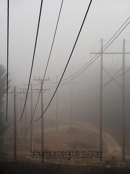 power lines fog