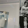 "John Lennon's New York City t-shirt on display in a new exhibit at the Rock & Roll Hall of Fame Annex NYC  May 11, 2009 entitiled "" John Lennon: The New York City Years."" Lennon, one of the founders of the Beatles, was shot and killed outside his NYC apartment building on December 8, 1980. AFP PHOTO/ TIMOTHY A. CLARY (Photo credit should read TIMOTHY A. CLARY/AFP/Getty Images)"