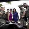 """From left, Alison Brie, Marley Shelton, Adam Brody, Neve Campbell, Courteney Cox, David Arquette and Anthony Anderson in """"Scream 4."""""""