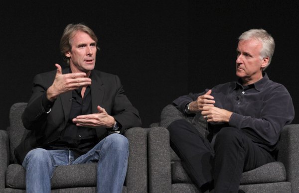 Michael Bay and James Cameron speak to the gathered crowd of attendees at the TRANSFORMERS: DARK OF THE MOON 3D: A TRANSFORMING VISUAL ART <br /> A Conversation with Michael Bay and James Cameron, Wednesday, May 18, 2011 at the Paramount Theater, Paramount Studios, Los Angeles, CA<br /> (Alex J. Berliner/abimages)