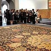 The Arbadil Carpet is on display in the Gifts of the Sultan: The Arts of Giving at the Islamic Courts exhibition at the Los Angeles County Museum of Art June 1, 2011.  The exhibition, which runs June 5-September 5, 2011, explores Islamic Art through the universal tradition of gift giving.  Gifts of the Sultan spans the eighth through nineteenth centuries and features more than 250 works of art.(Andy Holzman/Daily News Staff Photographer)