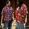 (l-r) Graco Hernandez and Earnestine Phillips during dress rehearsal. The 14-year-old Hernandez has a staring roll in the production Rose Cottages that is being staged at the Theatricum Botanicum in Topanga, Ca 7-19-2011. (John McCoy/Staff Photographer)