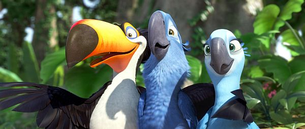 """A friendly toucan named Rafael helps blue macaws Blu and Jewel when they flee smugglers in the Brazilian jungle in """"Rio."""""""