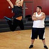 "Chaz Bono, right, and Lacey Schwimmer pose for a photo while rehearsing for the upcoming season of ""Dancing of the Stars"" in Los Angeles, Wednesday, Sept. 7, 2011. (AP Photo/Matt Sayles)"