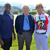 Carl Lewis, Clint Eastwood, Anthony Shriver on the links at Tehama Golf Course in Carmel.