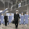 "ABC's ""Pan Am"" stars Karine Vanasse as Colette, Michael Mosley as Ted, Margot Robbie as Laura, Mike Vogel as Dean, Christina Ricci as Maggie and Kelli Garner as Kate."