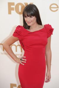 Lea Michele arrives for the 63rd Primetime Emmy Awards  at the Nokia Theatre in Los Angeles, California on September 18, 2011. (Michael Owen Baker, Staff Photographer)