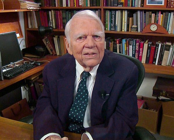 "In this Aug. 23, 2011 image taken from video and provided by CBS, Andy Rooney tapes his last regular appearance on ""60 Minutes"" in New York. Rooney, 92, who delivered regular essays on the broadcast since 1978, will have his last spot aired on the Oct. 2, ""60 Minutes"" broadcast. Rooney will also sit for an interview by ""60 Minutes"" correspondent Morley Safer. (AP Photo/CBS) MANDATORY CREDIT; NO SALES; NO ARCHIVE; NORTH AMERICAN USE ONLY"