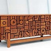 """Teak patio bench by Mabel and Milon Hutchinson (1968) at the LACMA exhibit California Design, 1930-1965: """"Living in a Modern Way."""" (Michael Owen Baker/Daily News Staff Photographer)"""