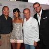 Chef Masaharu Morimoto, left, actress Bai Ling, chef Wolfgang Puck and co-founder of CLM David Alan Bernahl arrive at the premiere of Los Angeles Food & Wine at LA Live on Oct. 13, 2011 in Los Angeles. (Photo by Alberto E. Rodriguez/Getty Images for DCP)