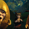 "In this image released by Paramount Pictures, from left, Humpty  Dumpty, voiced by Zach Galifianakis, Kitty Softpaws, voiced by Salma  Hayek, and Puss in Boots, voiced by Antonio Banderas, are shown in a  scene from ""Puss in Boots."""