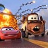 (L-R) Grem (voice by Joe Mantegna), Acer (voice by Peter Jacobson), Siddeley (voice by Jason Isaacs), Lightning McQueen (voice by Owen  Wilson), Mater (voice by Larry the Cable Guy) and Finn McMissile (voice by Sir Michael Caine).