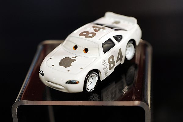 """The rare die-cast """"Apple Car"""" is on display in the """"From Silver Screen to Die-cast: Disney Pixar Cars Imagined by Mattel"""" exhibition at the Petersen Automotive Museum in Los Angeles, CA.(Andy Holzman/Daily News Staff Photographer)"""
