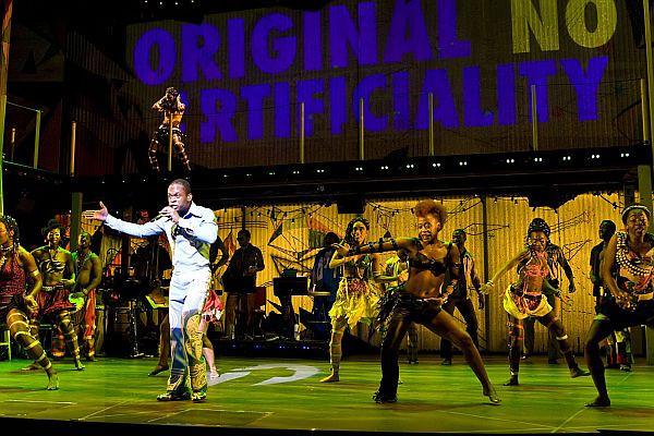 "Sahr Ngaujah as Fela Anikulapo-Kuti and the Broadway cast of ""Fela!.""   <br /> Photo courtesy of Monique Carboni"