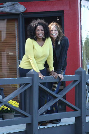 "Oprah Winfrey visits rocker Steven Tyler at his lakefront home in Lake Sunapee, N.H., on ""Oprah's Next Chapter,"" premiering at 9 tonight on OWN."
