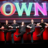 Rosie O'Donnell, center, is shown with male dancers during the OWN: Oprah Winfrey Network portion of the Discovery Communications Upfront in New York.<br /> George Burns OWN