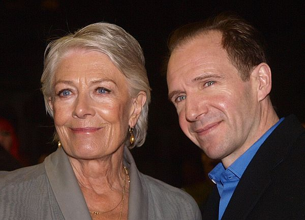 Vanessa Redgrave and Ralph Fiennes pose together as they arrive for a screening