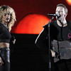 Rihanna, left, and Chris Martin of the band Coldplay perform during the 54th an