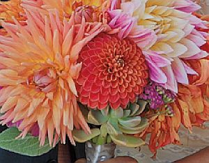 A wedding bouquet of dahlias and succulents grown at Tara Kolla's Silver Lake F