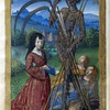 """""""Denise Poncher before a Vision of Death,"""" circa 1500, by Master of the Chroniq"""