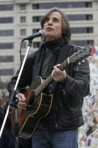 Singer songwriter, Jackson Browne performs for Occupy Washington participants,