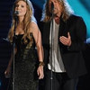 """Robert Plant and Alison Krauss perform before accepting the Album of  the Year award for their album """"Raising the Sand"""" during the 51st  annual Grammy awards held at the Staples Center in Los Angeles on  February 8, 2009."""