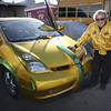 "Custom car designer George Barris with his ""daily driver"", his custom built Prius, on the set of ""Car Warriors"" a new show on the Speed Channel which features custom car build-offs.  Barris is one of the judges for the show which is currently in production in Reseda."