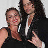 """HOLLYWOOD, CA - FEBRUARY 15:  Actors / singers Rebecca Faulkenberry (L) and Constantine Maroulis (R) attend the opening night of """"Rock of Ages"""" afterparty at Spot 5750 on February 15, 2011 in Hollywood, California.  (Photo by Chelsea Lauren/Getty Images for Pantages Theatre)"""