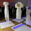 "This Wednesday, Feb. 23, 2011 photo shows guests by  the installation ""White Collection,"" during a  preview of the art exhibition ""Rodarte: States of Matter,""  at the Museum of Contemporary Art in West Hollywood, Calif.  (AP Photo/Chris Pizzello)"