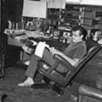 """FILE - In this Nov. 2, 1960 file photo, TV and film star Ernie Kovacs relaxes in the den of his home in Beverly Hills, Calif. A new six-disk boxed set, """"The Ernie Kovacs Collection,"""" curates surviving treasures stretching from 1951 through his untimely death in 1962 will be released April 19, 2011.  (AP Photo/David F. Smith, file)"""