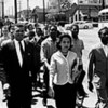 Black leaders march down Jefferson Street at the head of a group of 3000 demonstrators and heading toward City Hall to protesting the Z. Alexander Looby bombing. Leaders are Rev. C.T. Vivian, front row left, Diane Nash of Fisk, Bernard Lafayette of American Baptist seminary, Curtis Murphy of Tennessee A&I, back row center, and Rodney Powell of Meharry. (Jack Corn / The Tennessean) 4/19/1960