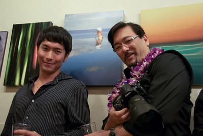 Reid (left) , Ross Hamamura (right) ...  Contemporary Photographers of Hawaii Exhibit   Opening Reception  April 2, 2010  ... Over  300  guests, Busiest Opening ever for a PNM Event  (Pacific New Media)  ... Photographer: Mark Kaku  ...  more of Mark's images at :  http://kaku.smugmug.com/