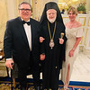 Philanthropists John Thibault and EOK committee member Elaine Zouzas Thibault of Chelmsford, with His Eminence Metropolitan Methodios of Boston