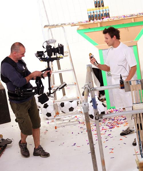 Sure viral. 21/5/10 Cameraman Mark Barrs on set.  Picture © Gareth Davies 07774899744